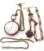 Mixed Lot: Last quarter of 19th century Continental white metal cased pocket watch with key wind (