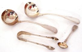 Mixed Lot: pair of George III silver Fiddle pattern sauce ladles, 17cm long, London 1818, maker