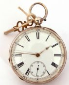Last quarter of 19th century hallmarked silver cased pocket watch with key wind, having gold hands