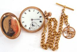 9ct gold cased hunter pocket watch, black Roman numerals to an enamelled dial with subsidiary second