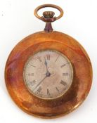 Second quarter of 20th century gilt metal cased dress pocket watch with button wind, blued steel