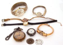 Mixed Lot: including gent's gold plated Wilson wrist watch, brass cased Walton fob watch, four