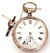 Last quarter of 19th/first quarter of 20th century Continental white metal cased pocket watch with