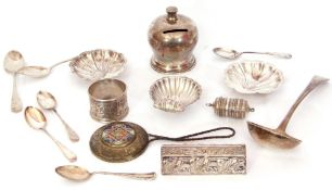 Mixed Lot: George III silver sauce ladle of typical plain polished form, monogram to handle, 16.