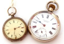 Gent's first or second quarter of 20th century nickel cased pocket watch with blued steel hands to a