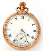 Second quarter of 20th century hallmarked 9ct gold cased open faced pocket watch with button wind,