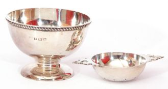 Mixed Lot: mid-20th century small silver pedestal bowl with gadrooned rim to a plain polished