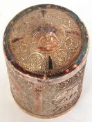 Indian white metal tea caddy with dome lid, repousse decorated the four sides decorated with