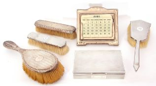 Mixed Lot: George V silver framed desk calendar, easel back, 14 x 12cm, Birmingham 1918, maker's