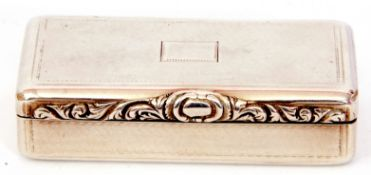 George IV silver snuff box of rectangular form, the lid with a chased design featuring a vacant