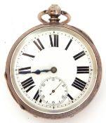 Third quarter of 20th century hallmarked silver cased pocket watch with key wind, blued steel