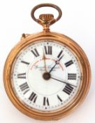 Last quarter of 19th/first quarter of 20th century pocket watch of railway interest, the open face