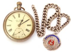 Last quarter of 19th/first quarter of 20th century Continental nickel cased pocket watch with button