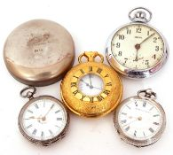 Mixed Lot: late 19th century hallmarked silver cased fob watch by Kendal & Dent (a/f), further white