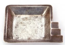 Continental white metal Art Deco style ash tray of square form with a graduated corner stepped