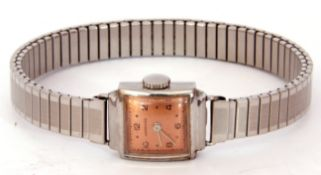 Second/third quarter of 20th century ladies Longines stainless steel cased wrist watch, silvered