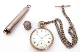 First quarter of 20th century hallmarked silver cased pocket watch with button wind, having blued