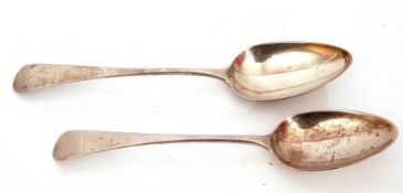 Two George III table spoons in Old English pattern, London 1796 and 1827, maker's mark Richard