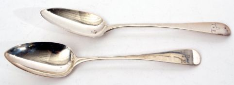 Pair of George III table spoons in Old English pattern, London 1809 by Peter & William Bateman,