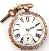 Last quarter of 19th century Continental white metal cased pocket watch, blued steel hands to a