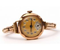Ladies first quarter of 20th century 9ct gold cased wrist watch with blued steel hands to a gilded