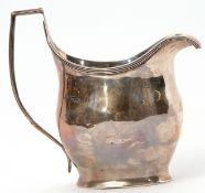 Late Victorian helmet cream jug in George III style, having reeded rim and angular handle, Chester