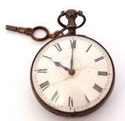 George III silver cased pocket watch (previously paired, now missing outer case), blued steel