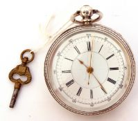 Last quarter of 19th century hallmarked silver cased pocket watch with gold hands to a white