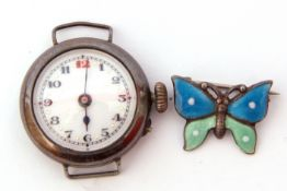 Ladies first quarter of 20th century import hallmarked silver cased wrist watch with blued steel