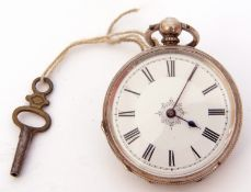 Last quarter of 19th/first quarter of 20th century Continental white metal cased fob watch, blued