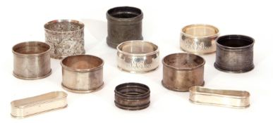 Mixed Lot: various napkin rings, eight white metal examples, one pewter and two plated, all unmarked