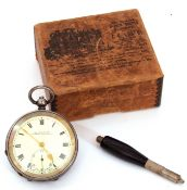 First quarter of 20th century import hallmarked silver cased pocket watch with key wind, gold