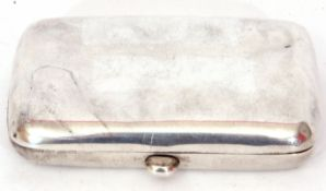 Late 20th century silver cigarette case of hinged and polished rectangular form, gilt interior,