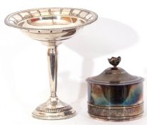 "Mixed Lot: ""Columbia"" sterling weighted comport, beaded rims and marked ""Sterling Columbia"", 17cm"