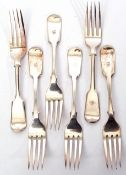 Set of six Victorian plated dessert forks in Fiddle pattern