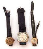 Mixed Lot: Gent's vintage Accurist plated cased wrist watch on leather bracelet (a/f), ladies second
