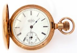 First quarter of 20th century American gold plated cased large fob watch by Elgin, having blued
