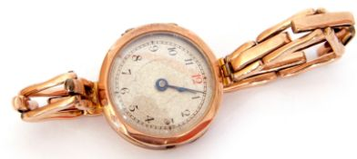 First/second quarter of 20th century ladies 9ct gold cased wrist watch with blued steel hands to a