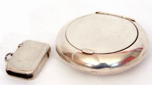 Mixed Lot: George VI silver pebble tobacco box, squeeze opening, gilt interior, the inside of the