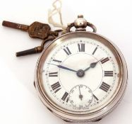 Second quarter of 20th century Continental import hallmarked silver cased pocket watch, blued