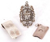 Mixed Lot: Continental white metal small photograph frame/pendant, pierced with cherubs and scrolls,