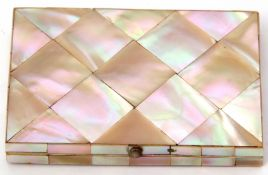 Victorian mother of pearl encased folding card case having foliate engraved diamond shaped panel,