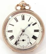 Third quarter of 19th century hallmarked silver cased pocket watch with key wind, having blued steel