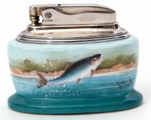 Mintons-Ronson bone china table lighter with hand painted detail of a jumping salmon by D Scott, 8.
