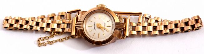 9ct gold ladies Accurist wrist watch on a 9ct gold brick link bracelet, gross weight 11.6gms
