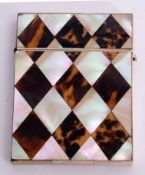 19th century tortoiseshell and mother of pearl card case with diamond geometric design to front