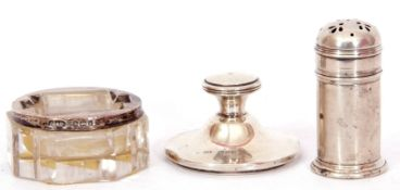 Mixed Lot: Edwardian cut glass and silver mounted stamp moistener with glass roller, Birmingham