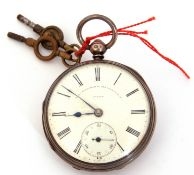 Third quarter of 19th century hallmarked silver cased pocket watch with blued steel hands to a white
