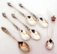 Mixed Lot: four silver Apostle spoons, London 1917, a tea spoon applied with a cast crowned