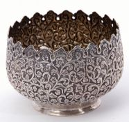 Indian white metal small jardiniere, pierced and embossed with floral and foliate design, plain